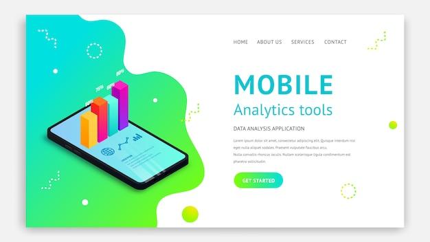 モバイル分析ツール等尺性ランディングページのコンセプト。流体の抽象的な背景のスマートフォンの画面上の3 dグラフデータ。アプリ、ウェブサイトテンプレート、seo、マーケティングインフォグラフィックの図