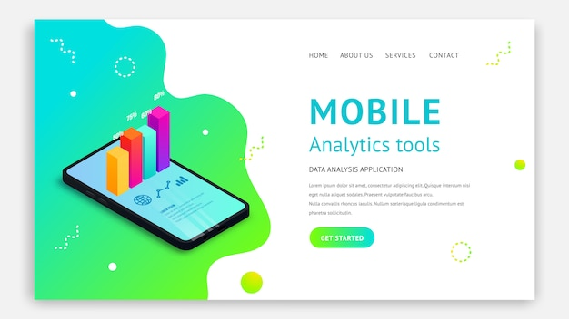 Mobile analytics tools isometric landing page concept. 3d graph data on smartphone screen on abstract fluid background.  illustration for app, website template, seo, marketing infographic