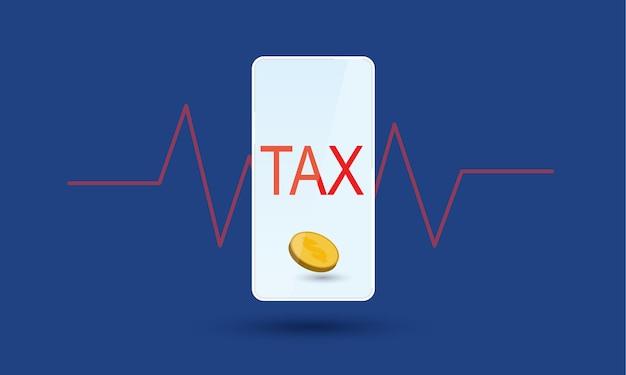 バックグラウンドでハートビートリズムグラフを使用したモバイルおよびオンライン税財務管理コンセプトインスピレーションビジネス