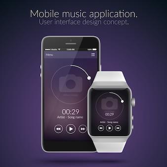 暗い色のフラットイラストでモバイルと時計の音楽アプリケーションのユーザーインターフェイスのデザインコンセプト
