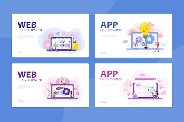 モバイルアプリとweb開発バナーコンセプトセット。デジタルデバイス用のプログラミングアプリ。ユーザー用のインターフェースを作成しています。スタイルのイラスト
