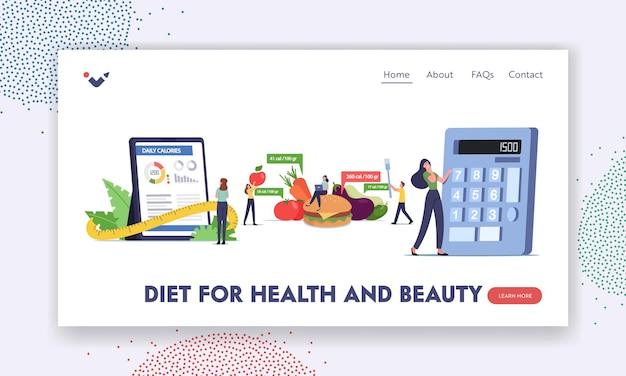 영양 및 다이어트 방문 페이지 템플릿에 대한 모바일 앱 계산기. 스마트폰 애플리케이션을 사용하여 칼로리를 계산하는 문자, 건강한 식생활 및 체중 감소. 만화 사람들 벡터 일러스트 레이 션