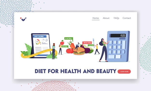 Mobile app calculator for nutrition and dieting landing page template. characters counting calories using smartphone application, healthy eating and weight loss. cartoon people vector illustration
