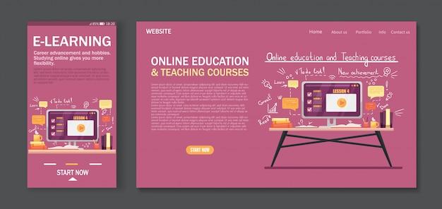 Дизайн мобильного приложения и шаблон целевой страницы для онлайн-обучения, курсов, электронного обучения