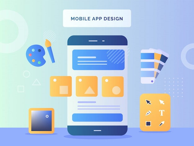 Mobile app design concept shape on smartphone screen background tools design color paintbrush pallet with flat style