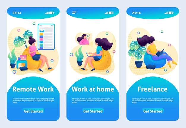 Mobile app design, template. 2d character. the girl works at a remote job, work at home.