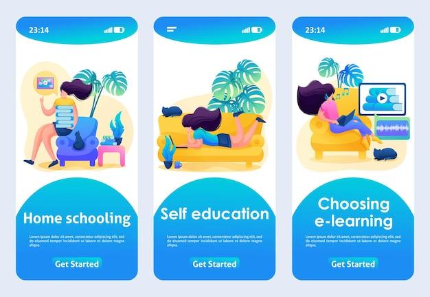 Дизайн мобильного приложения, шаблон. 2d персонаж. домашнее обучение, самообразование, аудиокниги.