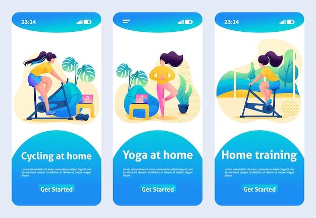 モバイルアプリのデザイン、テンプレート。 2dキャラクター。自宅でのトレーニング、シミュレーターでの自宅でのスポーツ。