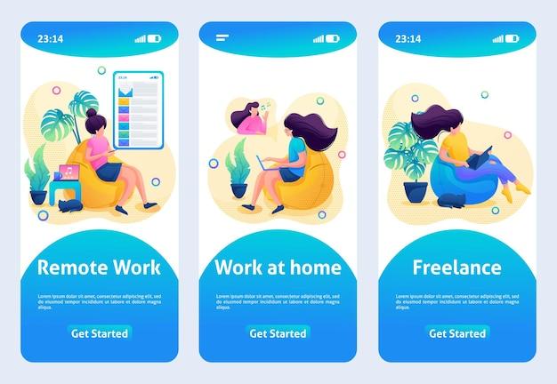 モバイルアプリのデザイン、テンプレート。 2dキャラクター。女の子は在宅勤務で、在宅勤務です。