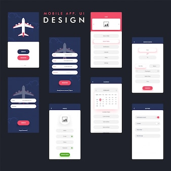 Mobile app design with decorative plane