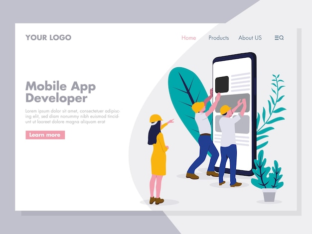 Mobile app developing illustration
