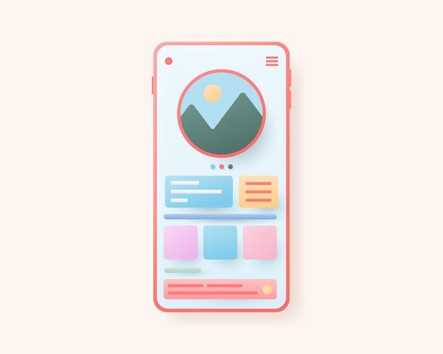 모바일 앱 개발 및 웹 디자인 개념 응용 프로그램 인터페이스 그림
