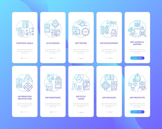 Mobile app development on boarding mobile app page screen with concepts set.