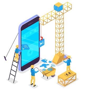 モバイルアプリ開発のコンセプト。現代の技術とスマートフォンのインターフェース。アプリケーションの構築とプログラミング。大きな携帯電話での建設労働者。等角投影図