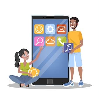 モバイルアプリ開発のコンセプト。現代の技術とスマートフォンのインターフェース。アプリケーションの構築とプログラミング。図