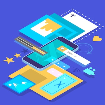 モバイルアプリ開発のコンセプト。現代の技術とスマートフォンのインターフェース。アプリケーションの構築とプログラミング。等角投影図