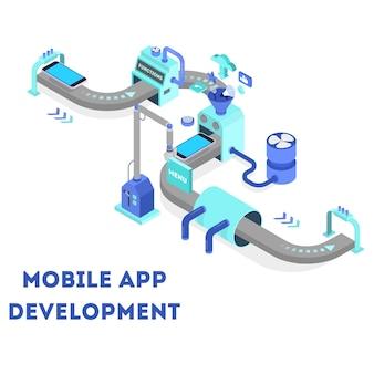 モバイルアプリ開発のコンセプト。現代のテクノロジーとスマートフォンのインターフェース設計。アプリケーションの構築とプログラミング。ベクトルアイソメ図