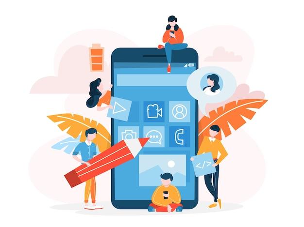 Концепция развития мобильного приложения. иллюстрирование современных технологий