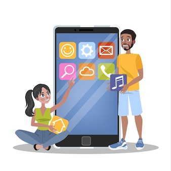Mobile app development concept. modern technology and smartphone interface . application building and programming.    illustration