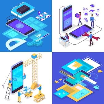モバイルアプリ開発コンセプトセット。現代のテクノロジーとスマートフォンのインターフェース設計。アプリケーションの構築とプログラミング。ベクトルアイソメ図