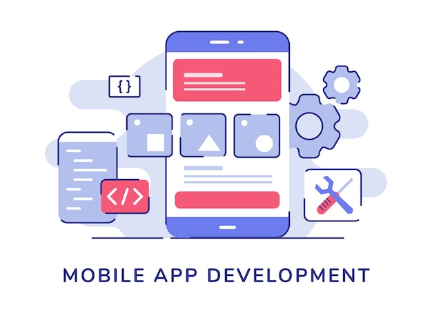 Mobile app development concept wire frame ui on display smartphone screen code