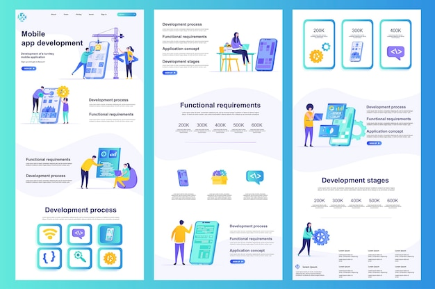 Mobile app development flat website template landing page middle content and footer