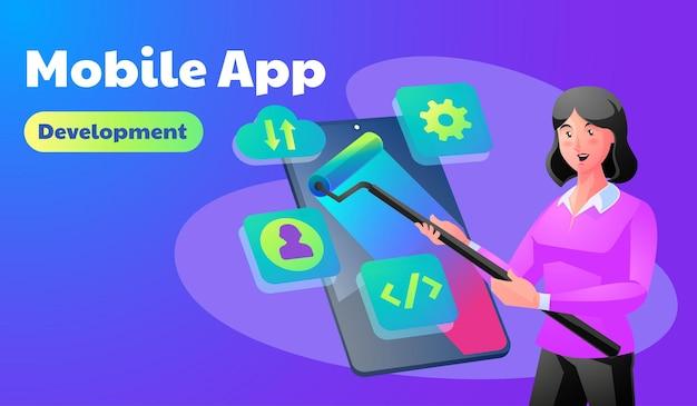 모바일 앱 개발 일러스트레이션
