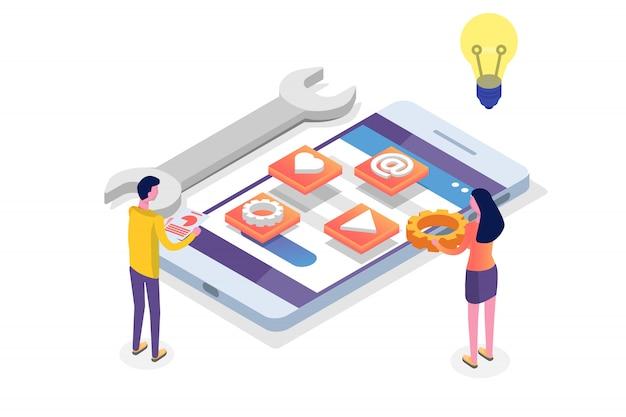 모바일 앱 개발 아이소 메트릭 개념. 방문 페이지 템플릿. 삽화.