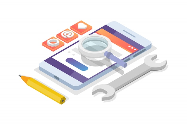 モバイルアプリ開発等尺性概念。ランディングページテンプレート。図。