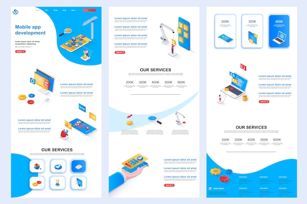 Mobile app development isometric website template landing page middle content and footer