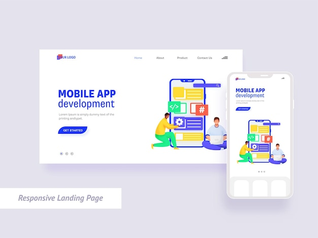 Mobile app development landing page design in white color.