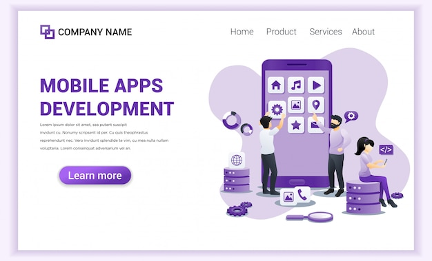 Mobile app development for landing page template.