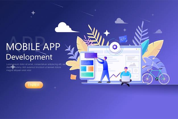 Разработка мобильных приложений современный плоский дизайн для веб-шаблона. разработчики работают над мобильным приложением ui-ux, кросс-платформенным прототипированием и тестированием программных api, созданием приложений для смартфонов.