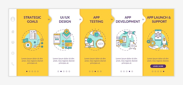 탑승 템플릿의 모바일 앱 개발 프로세스.