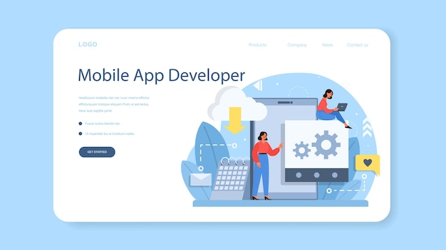 モバイルアプリ開発のwebバナーまたはランディングページ。現代のテクノロジーとスマートフォンのインターフェースデザイン。アプリケーションの構築とプログラミング。