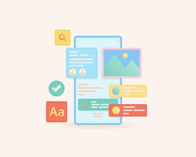 Mobile app development and web design concept application interface
