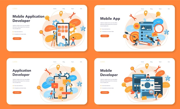 Mobile app development web layout or landing page set. modern technology and smartphone interface design. application building and programming.