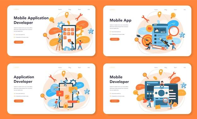 모바일 앱 개발 웹 레이아웃 또는 랜딩 페이지 세트. 현대 기술과 스마트 폰 인터페이스 디자인. 애플리케이션 구축 및 프로그래밍.