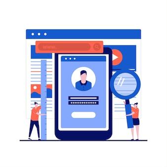 Разработка мобильных приложений с помощью программиста, создающего приложение и написания кода на смартфоне в плоском дизайне