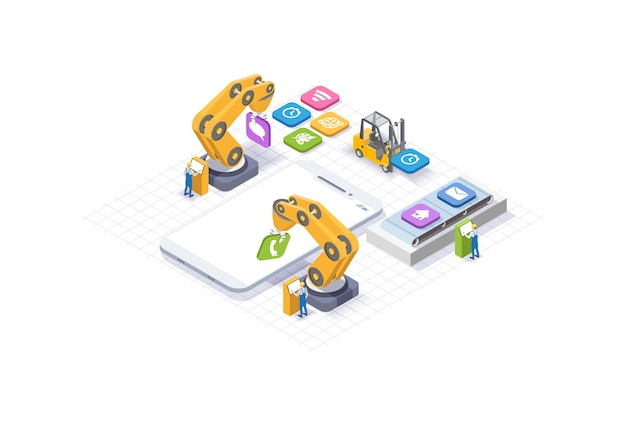 Mobile app development, young people working. isometric white phone. manipulator robot robotized. web development and ui design concept.