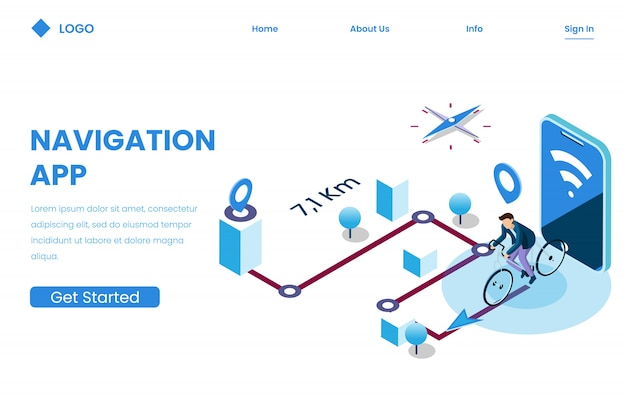 Mobile app direction for tracking in isometric illustration style, navigation