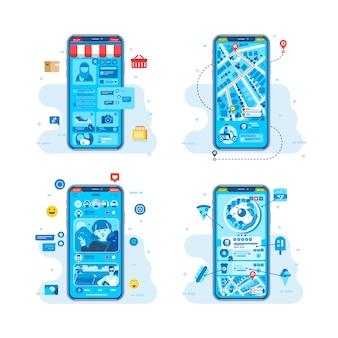 交通機関、食品の注文、スマートフォンのイラスト用のソーシャルメディアなど、あらゆるニーズに対応するモバイルアプリ