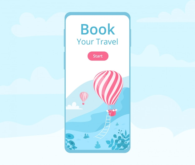 Mobile app hot air balloon booking illustration