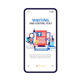 Mobile app interface on phone screen for copywriter or blogger a