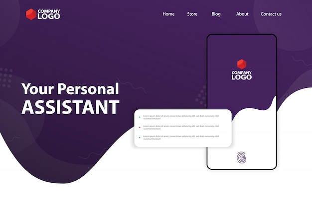 Mobile app landing page template design