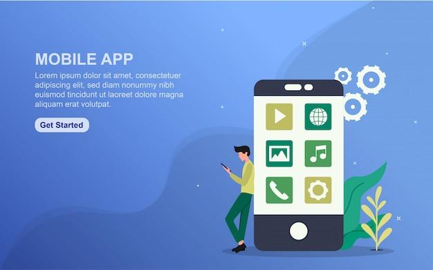 Mobile app landing page template. flat design concept of web page design for website.