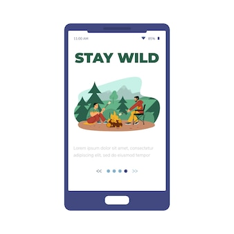 Mobile app onboarding page for camping flat vector illustration isolated