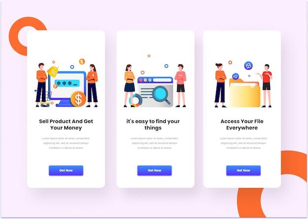 人間のモデルとフラットな編集可能なベクトルのマーケティングアプリケーションのモバイルアプリページのオンボード画面のイラスト