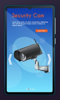 Mobile app page, screen set. security monitoring concept for website