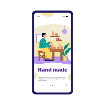 Mobile app on phone screen with potter making ceramics pots